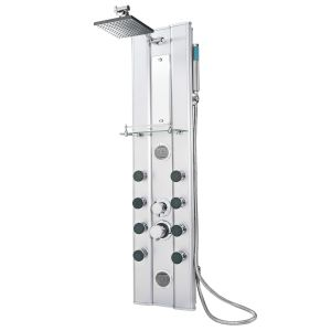 Brusepanel med 10 massagedyser og glasfront aluminium